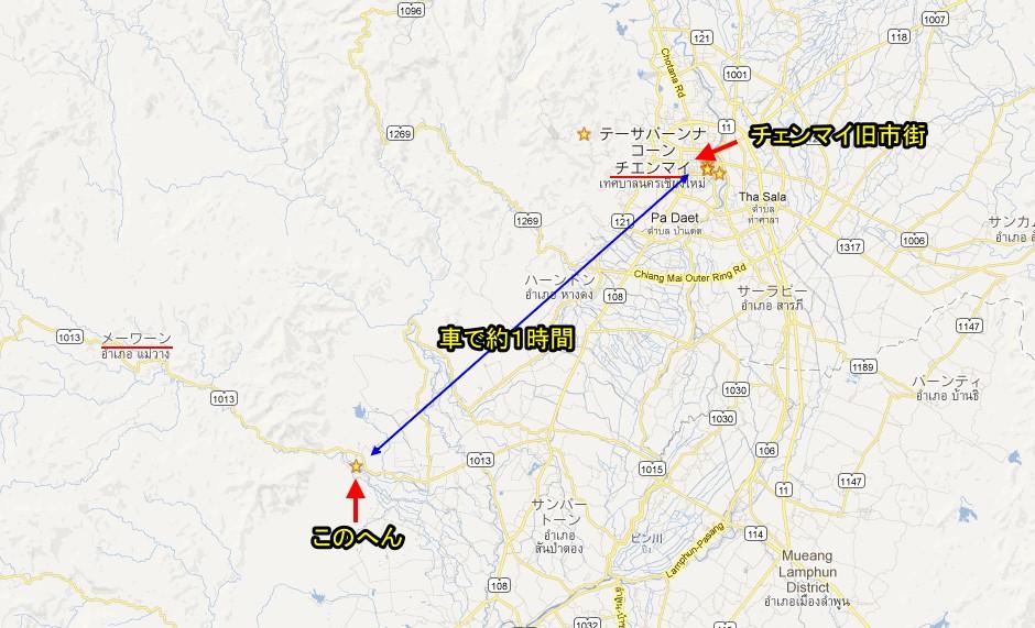 カレン族の村の位置(マップ)