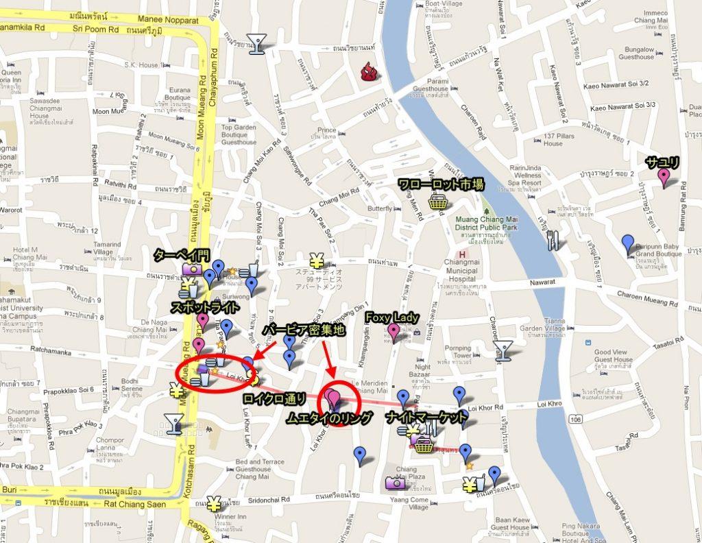 チェンマイの繁華街のマップ