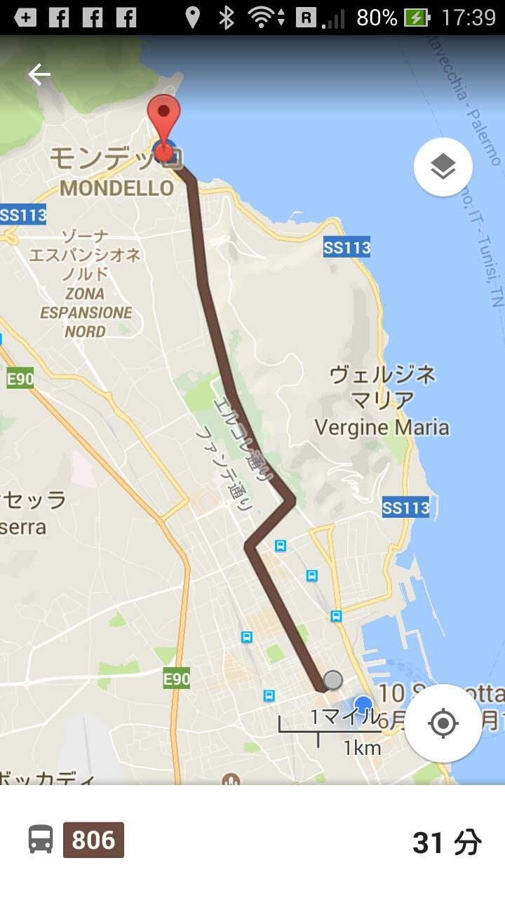 パレルモ~モンデッロバスの経路マップ