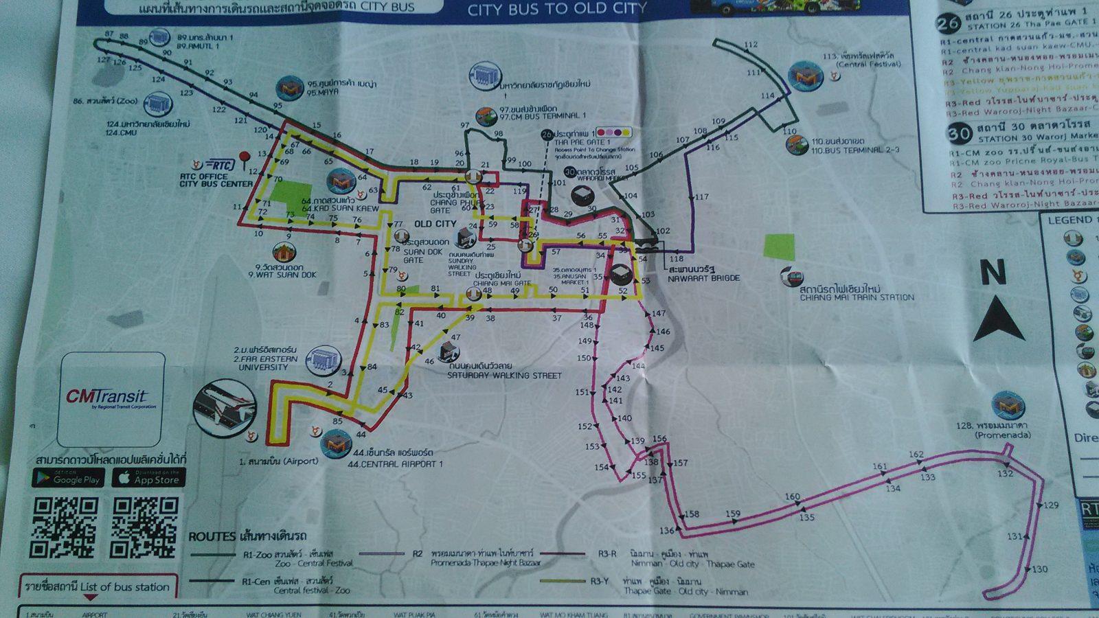チェンマイの路線バス路線図