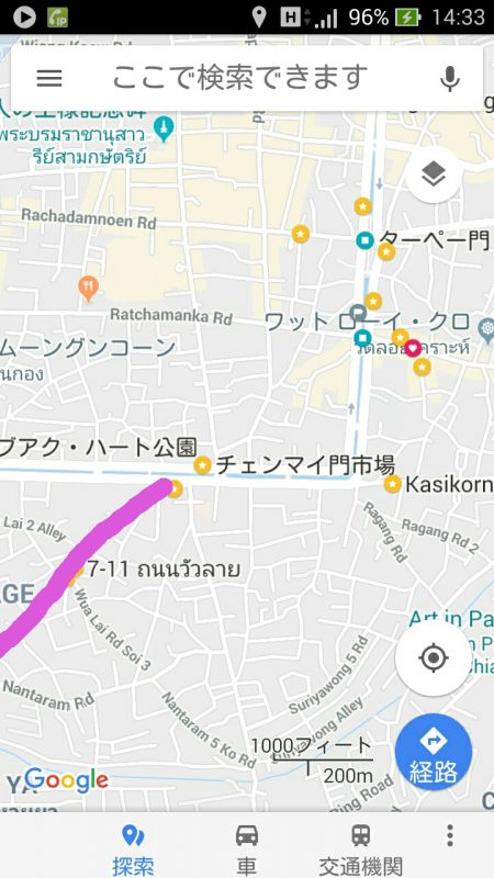 チェンマイのサタデーマーケット地図