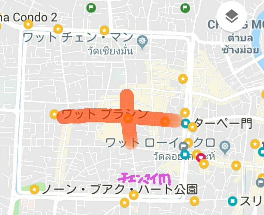 チェンマイのサンデー・マーケット開催地マップ