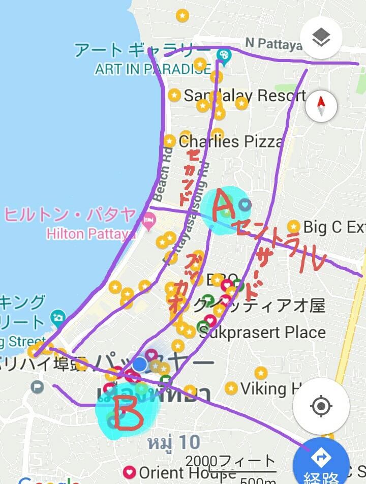 パタヤの地図とアパートメントの位置