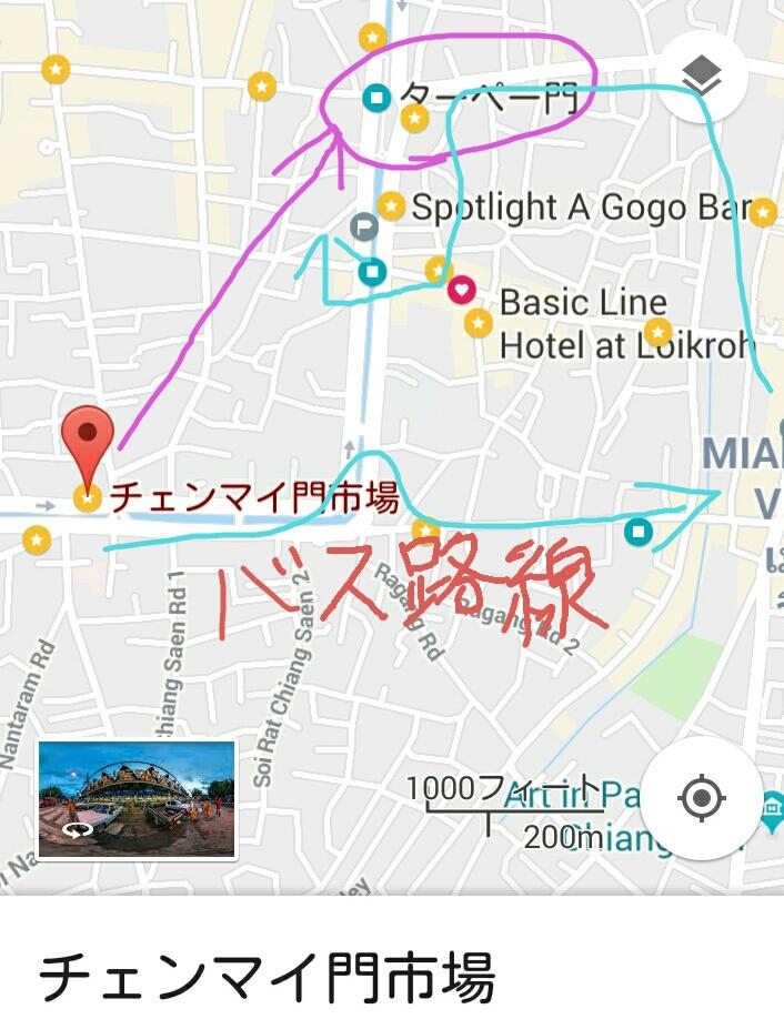 チェンマイのマップ、停留所とバス路線
