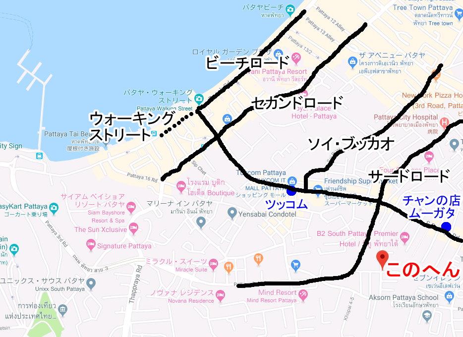 発砲事件のナイトクラブのパタヤ地図