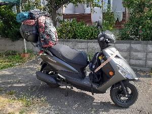 荷物満載のバイク:kabutotai.net